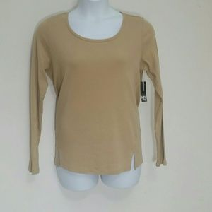 T shirt long sleeve crew neck 100% Cotton Tan NEW